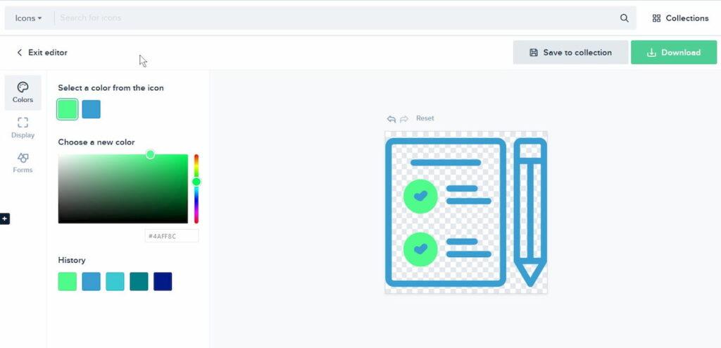 Zrzut ekranu z edytorem darmowych ikon w serwisie Flaticons