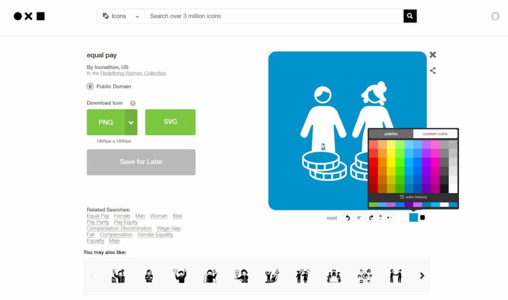 zrzut ekranu, widok edycji ikony wektorowej w serwisie The Noun Project