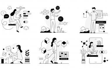 6 rysunków czarno-białych ze scenkami dot. korzystania z nowych technologii